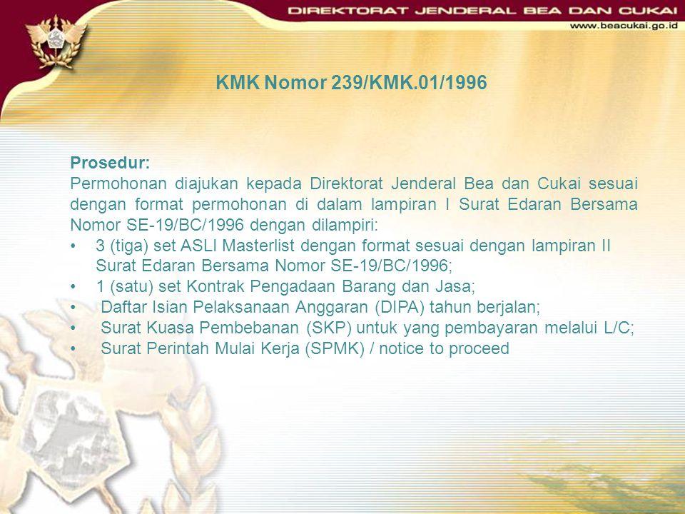 KMK Nomor 239/KMK.01/1996 Permohonan untuk mendapatkan fasilitas : Masterlist yang ditandatangani oleh pimpinan proyek dan disahkan oleh pejabat eselo