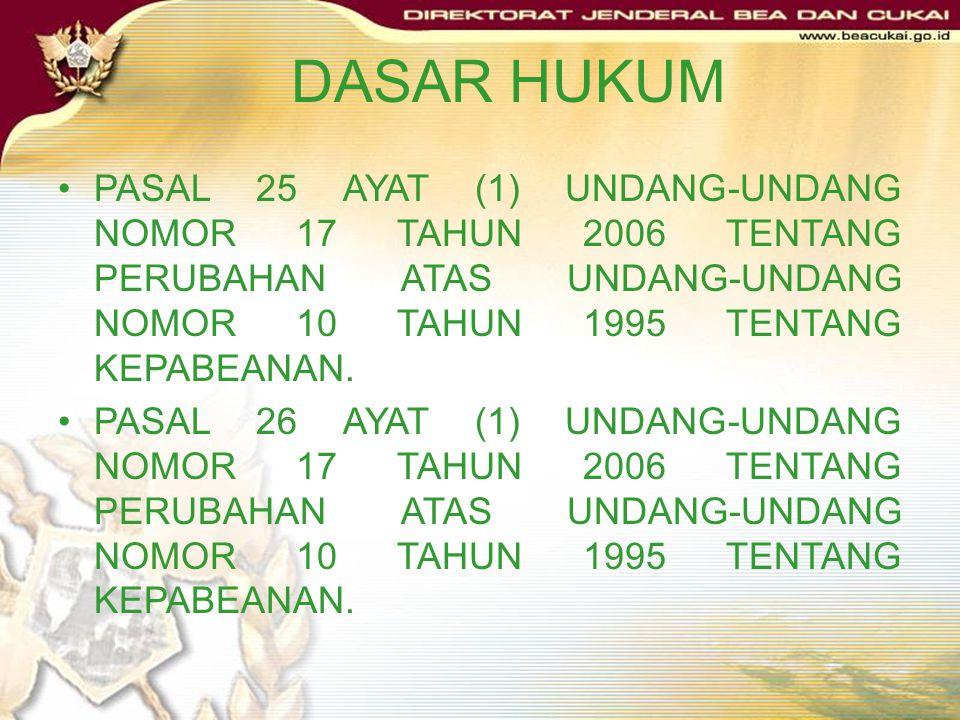 DASAR HUKUM PASAL 25 AYAT (1) UNDANG-UNDANG NOMOR 17 TAHUN 2006 TENTANG PERUBAHAN ATAS UNDANG-UNDANG NOMOR 10 TAHUN 1995 TENTANG KEPABEANAN.