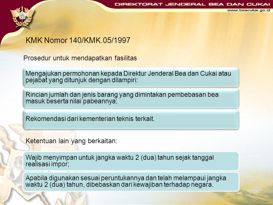 KMK Nomor 140/KMK.05/1997 SYARAT BARANG CONTOH :Semata-mata untuk pengenalan hasil produksi atau produk baru; Pengimporan hanya 3 (tiga) barang untuk