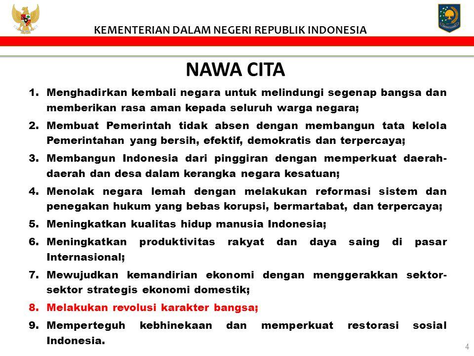 NAWA CITA 1.Menghadirkan kembali negara untuk melindungi segenap bangsa dan memberikan rasa aman kepada seluruh warga negara; 2.Membuat Pemerintah tid