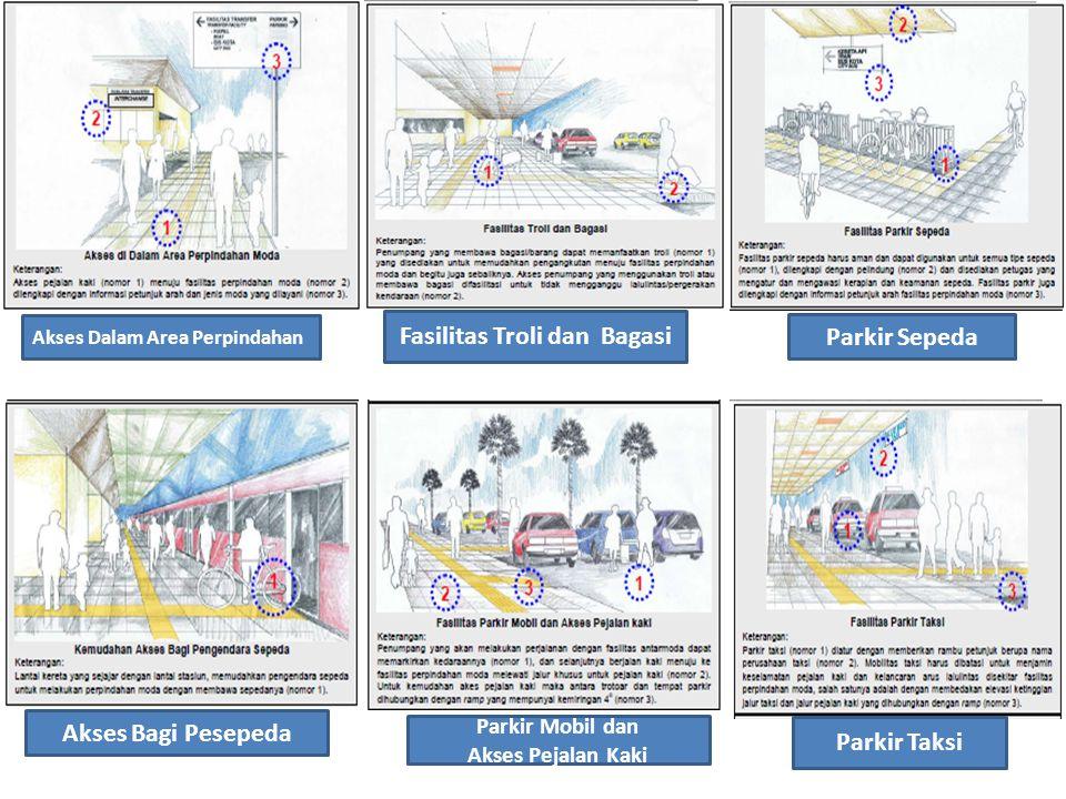 34 Parkir Sepeda Akses Bagi Pesepeda Akses Dalam Area Perpindahan Parkir Taksi Fasilitas Troli dan Bagasi Parkir Mobil dan Akses Pejalan Kaki