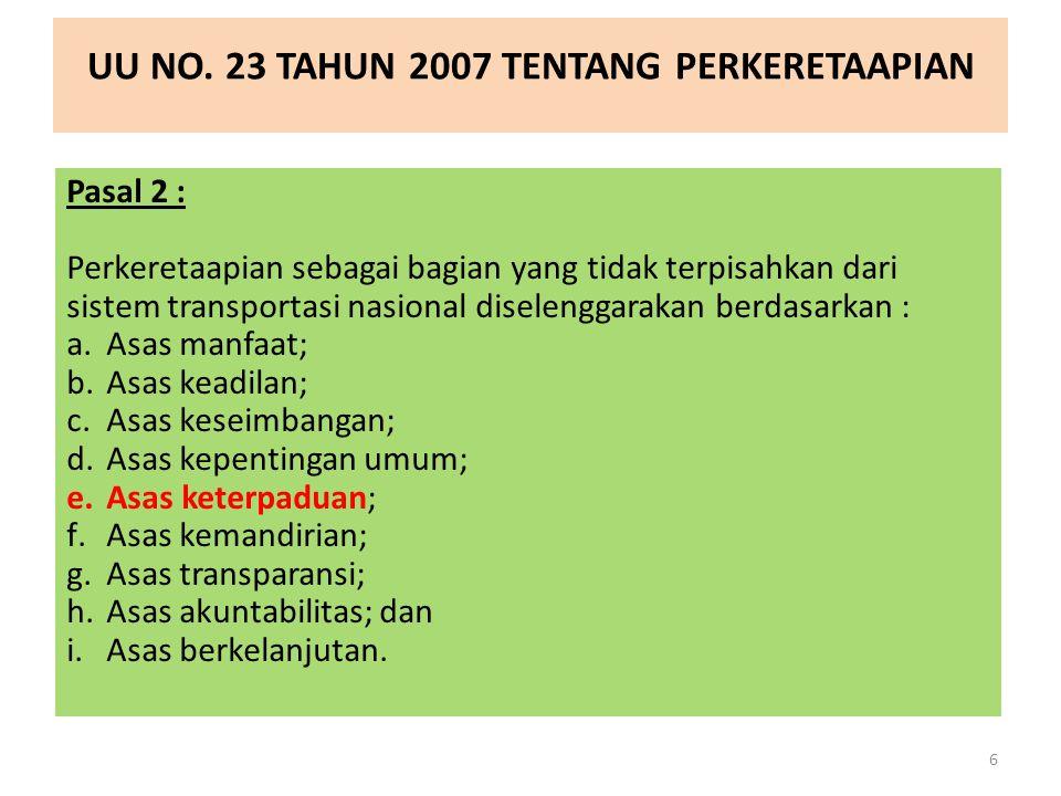 UU NO.17 TAHUN 2008 TENTANG PELAYARAN Pasal 2 : Pelayaran diselenggarakan berdasarkan: a.