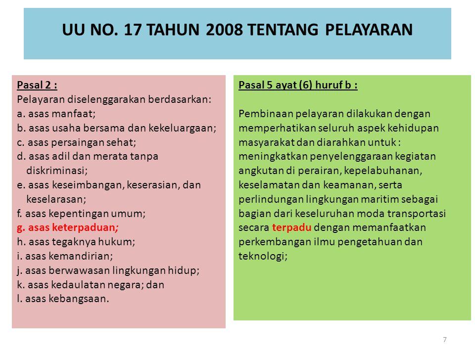 UU NO. 17 TAHUN 2008 TENTANG PELAYARAN Pasal 2 : Pelayaran diselenggarakan berdasarkan: a. asas manfaat; b. asas usaha bersama dan kekeluargaan; c. as
