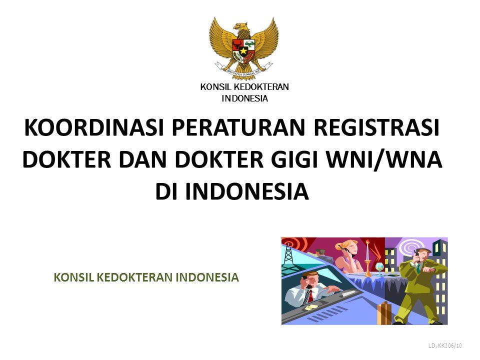 KOORDINASI PERATURAN REGISTRASI DOKTER DAN DOKTER GIGI WNI/WNA DI INDONESIA KONSIL KEDOKTERAN INDONESIA LD, KKI 06/10 KONSIL KEDOKTERAN INDONESIA