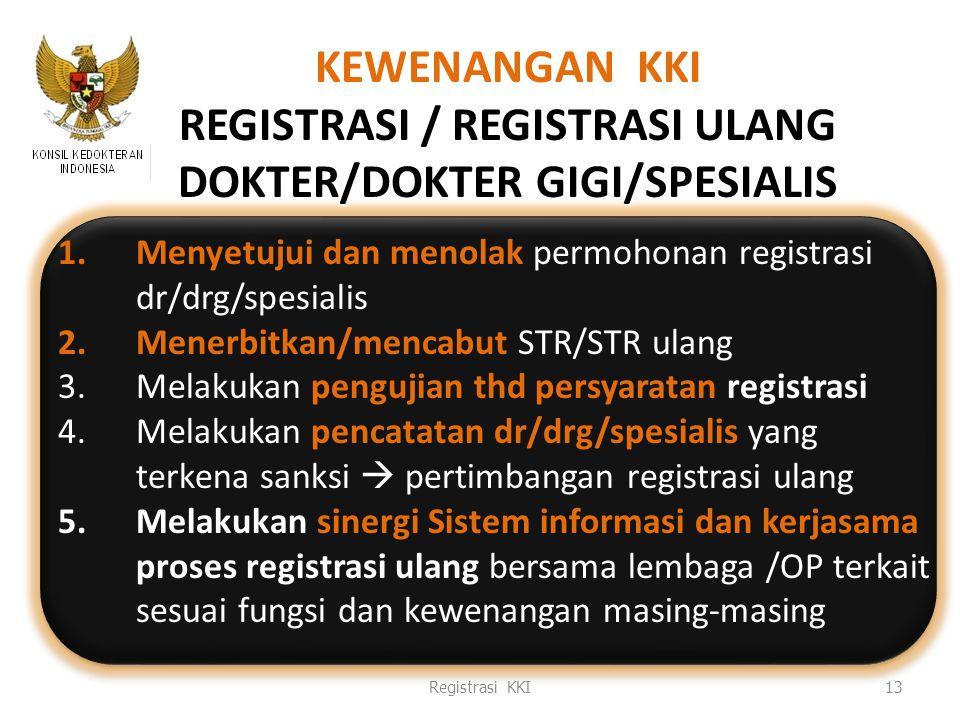 1.Menyetujui dan menolak permohonan registrasi dr/drg/spesialis 2.Menerbitkan/mencabut STR/STR ulang 3.Melakukan pengujian thd persyaratan registrasi