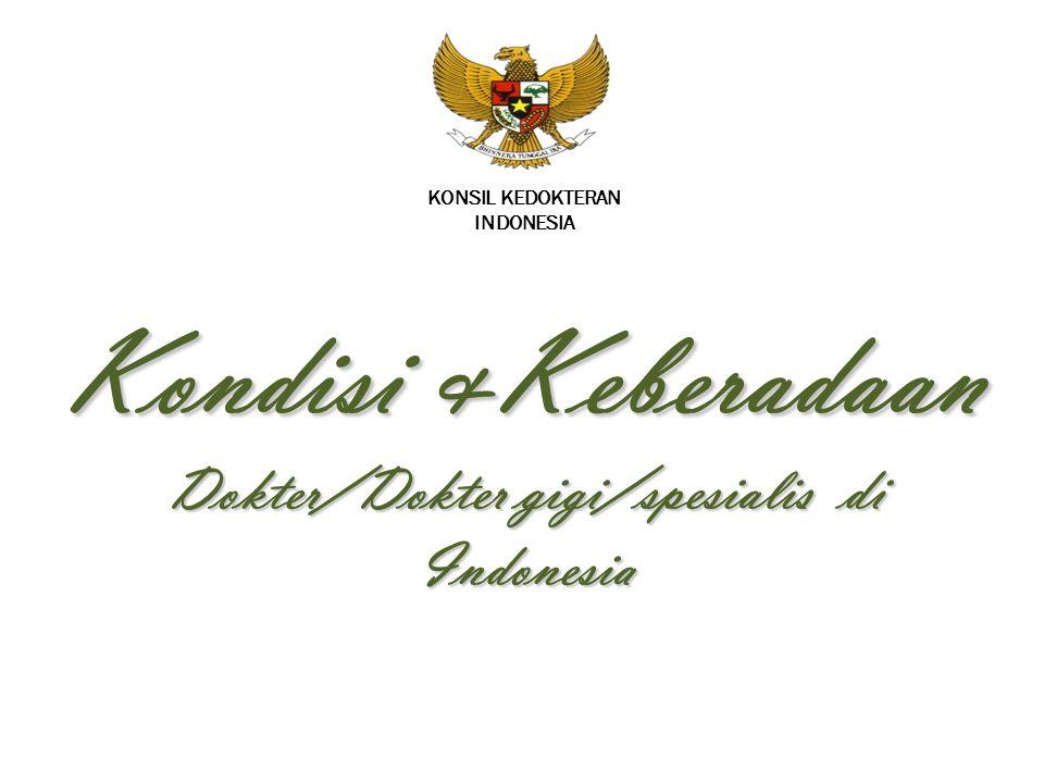 KONSIL KEDOKTERAN INDONESIA Kondisi &Keberadaan Dokter/Dokter gigi/spesialis di Indonesia