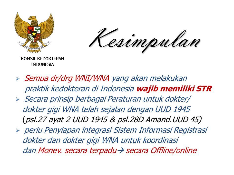 KONSIL KEDOKTERAN INDONESIA Kesimpulan  Semua dr/drg WNI/WNA yang akan melakukan praktik kedokteran di Indonesia wajib memiliki STR  Secara prinsip
