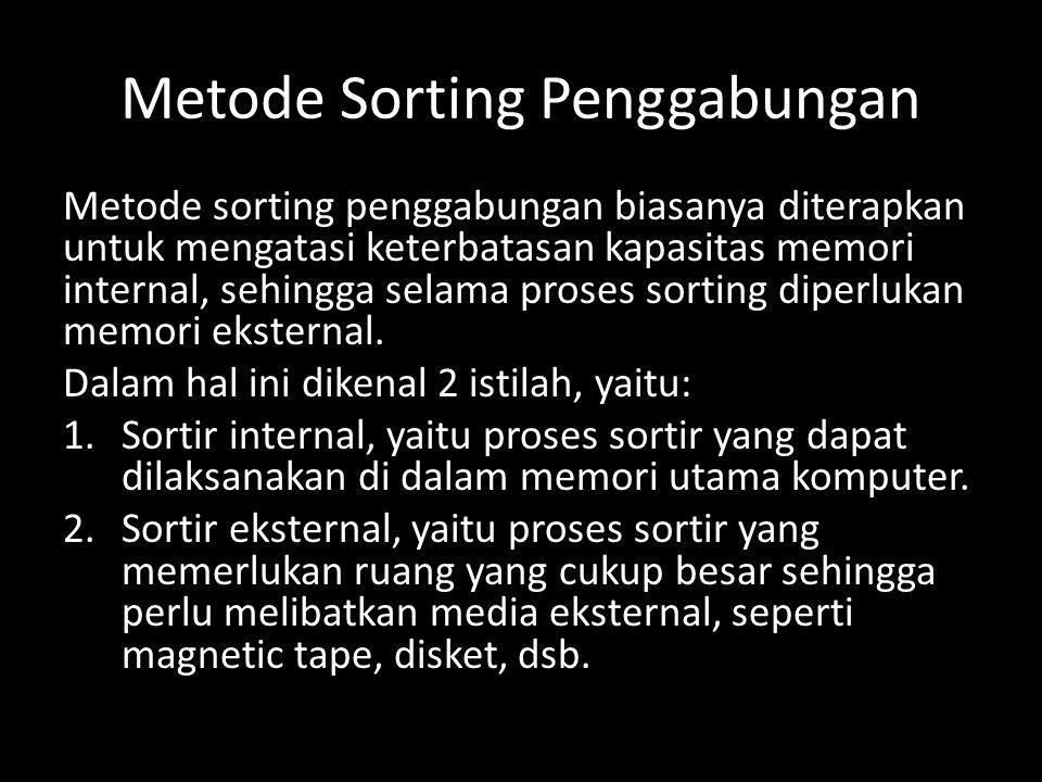 Metode Sorting Penggabungan Metode sorting penggabungan biasanya diterapkan untuk mengatasi keterbatasan kapasitas memori internal, sehingga selama pr