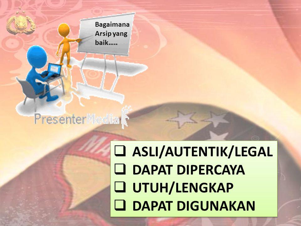 Bagaimana Arsip yang baik…..  ASLI/AUTENTIK/LEGAL  DAPAT DIPERCAYA  UTUH/LENGKAP  DAPAT DIGUNAKAN  ASLI/AUTENTIK/LEGAL  DAPAT DIPERCAYA  UTUH/L