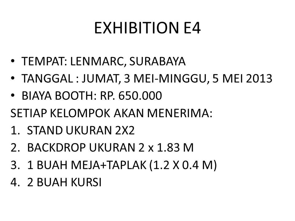 EXHIBITION E4 TEMPAT: LENMARC, SURABAYA TANGGAL : JUMAT, 3 MEI-MINGGU, 5 MEI 2013 BIAYA BOOTH: RP.
