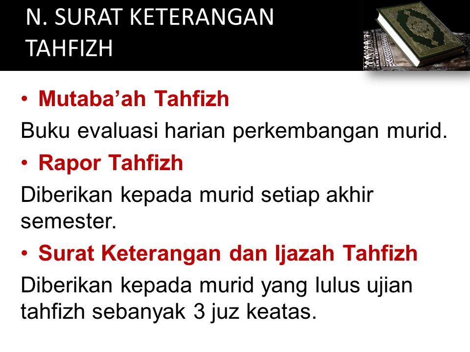 N. SURAT KETERANGAN TAHFIZH Mutaba'ah Tahfizh Buku evaluasi harian perkembangan murid. Rapor Tahfizh Diberikan kepada murid setiap akhir semester. Sur