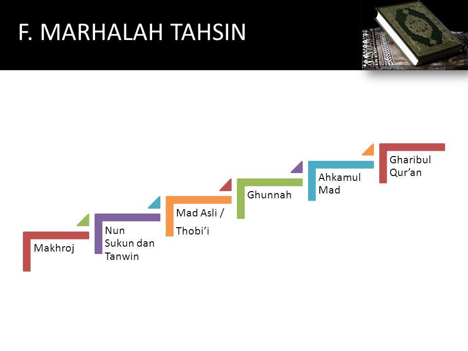 F. MARHALAH TAHSIN Makhroj Nun Sukun dan Tanwin Mad Asli / Thobi'i Ghunnah Ahkamul Mad Gharibul Qur'an