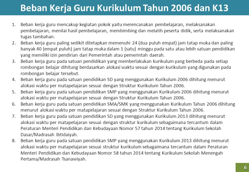 Beban Kerja Guru Kurikulum Tahun 2006 dan K13 6 6 1.Beban kerja guru mencakup kegiatan pokok yaitu merencanakan pembelajaran, melaksanakan pembelajara