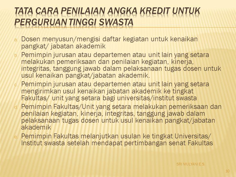 a. Dosen menyusun/mengisi daftar kegiatan untuk kenaikan pangkat/ jabatan akademik b. Pemimpin jurusan atau departemen atau unit lain yang setara mela