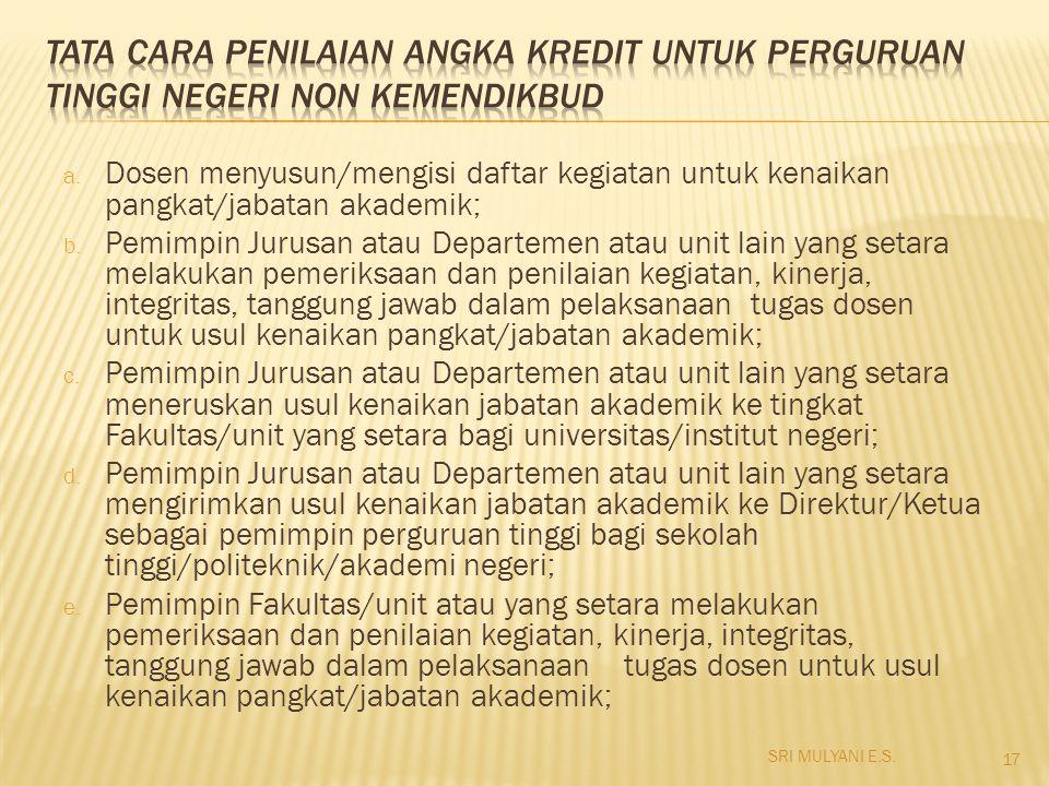 a. Dosen menyusun/mengisi daftar kegiatan untuk kenaikan pangkat/jabatan akademik; b. Pemimpin Jurusan atau Departemen atau unit lain yang setara mela