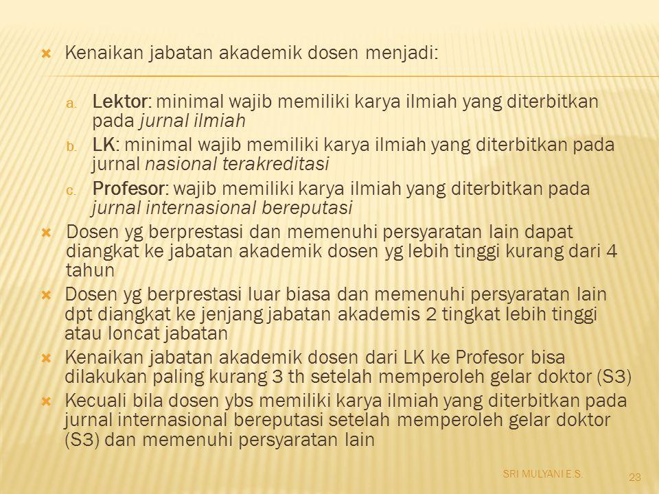  Kenaikan jabatan akademik dosen menjadi: a. Lektor: minimal wajib memiliki karya ilmiah yang diterbitkan pada jurnal ilmiah b. LK: minimal wajib mem