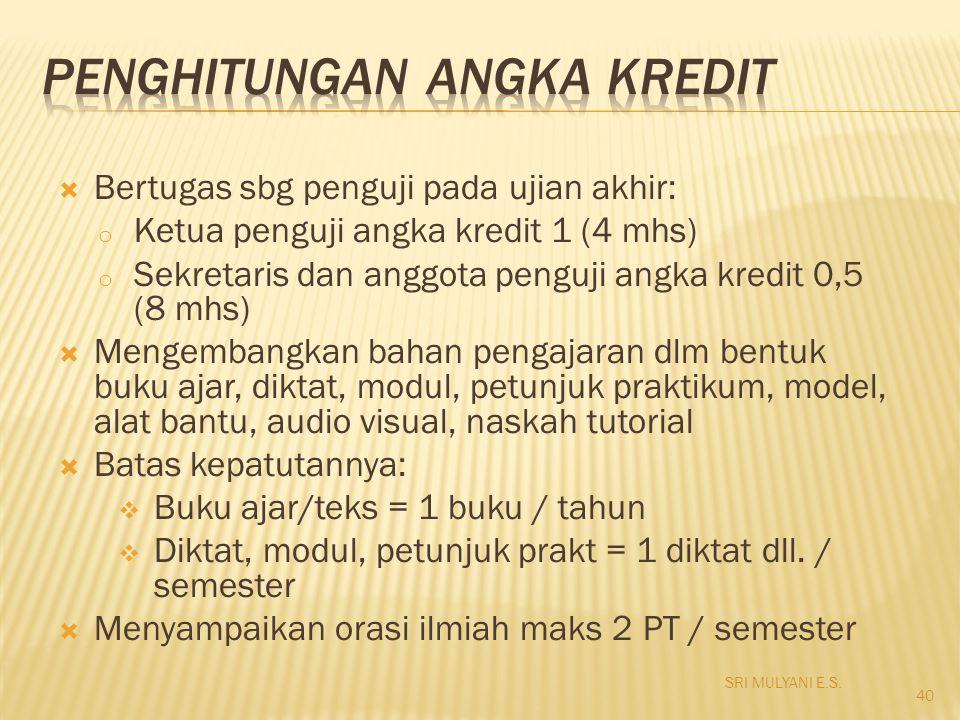 Bertugas sbg penguji pada ujian akhir: o Ketua penguji angka kredit 1 (4 mhs) o Sekretaris dan anggota penguji angka kredit 0,5 (8 mhs)  Mengembang
