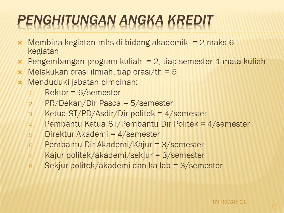  Membina kegiatan mhs di bidang akademik = 2 maks 6 kegiatan  Pengembangan program kuliah = 2, tiap semester 1 mata kuliah  Melakukan orasi ilmiah,
