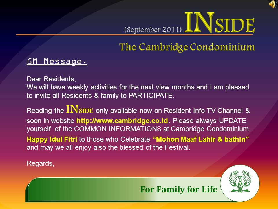 .…………… IMPORTANT INVITATION..…………… We Invite all the Resident to attend the Event of RESIDENT MEETING Saturday, October 1 st, 2011 11 AM – 1 PM AUDITORIUMAgenda: Socializing House Rules, Question & Answer
