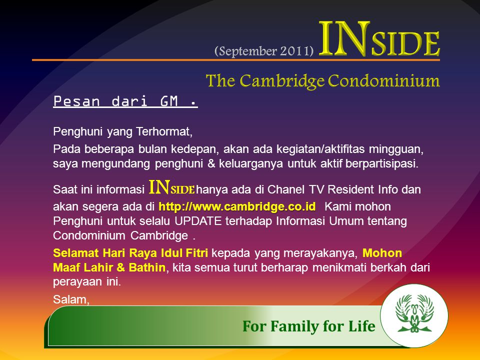 .……………..…………… Schedule 3,10,17 Sept'2011 @ 14.00 – 17.00 For Family for Life