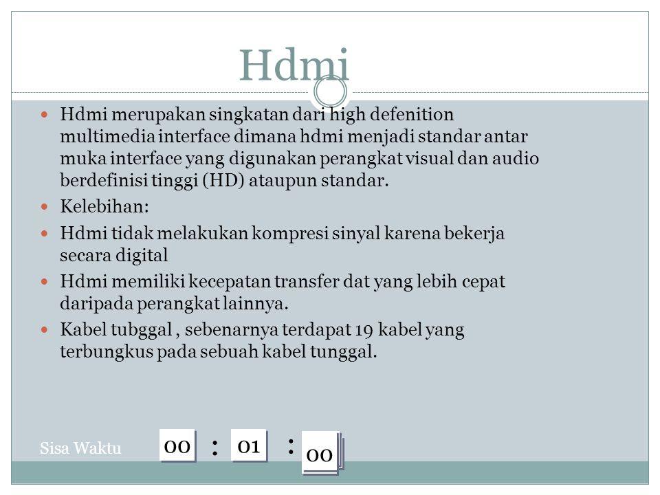 Hdmi Hdmi merupakan singkatan dari high defenition multimedia interface dimana hdmi menjadi standar antar muka interface yang digunakan perangkat visual dan audio berdefinisi tinggi (HD) ataupun standar.