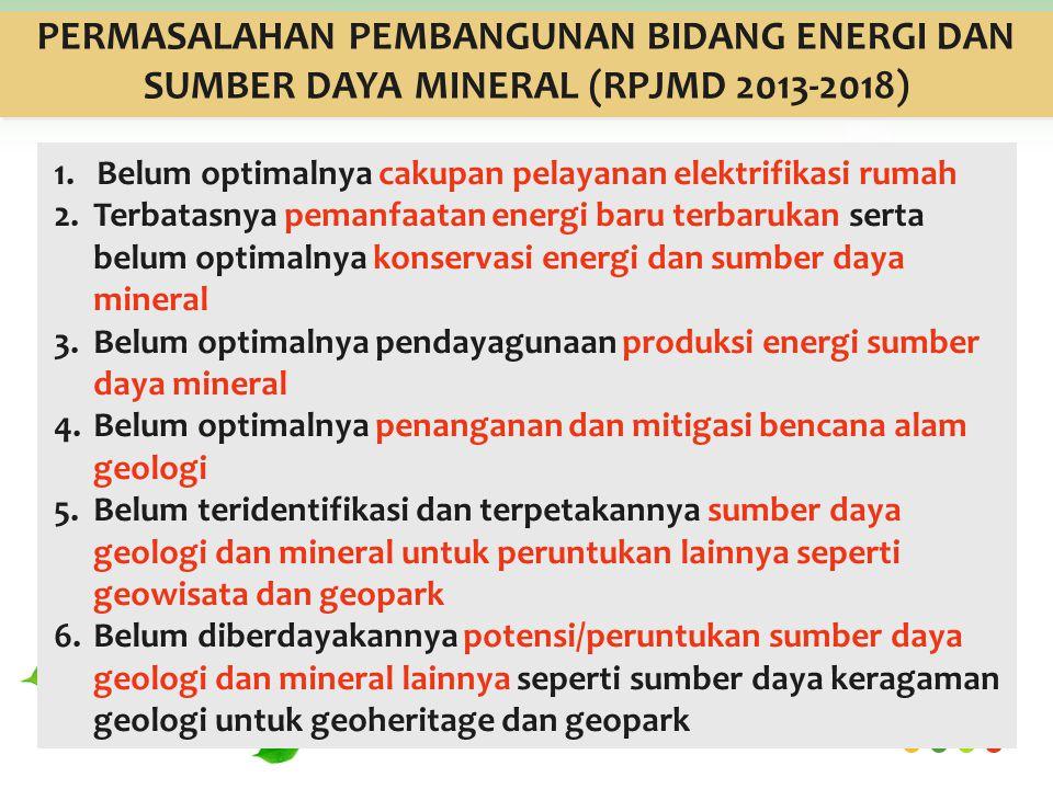PERMASALAHAN PEMBANGUNAN BIDANG ENERGI DAN SUMBER DAYA MINERAL (RPJMD 2013-2018) 1.