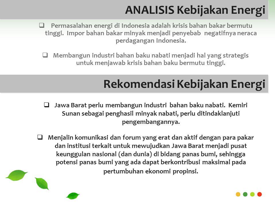 ANALISIS Kebijakan Energi  Permasalahan energi di Indonesia adalah krisis bahan bakar bermutu tinggi.