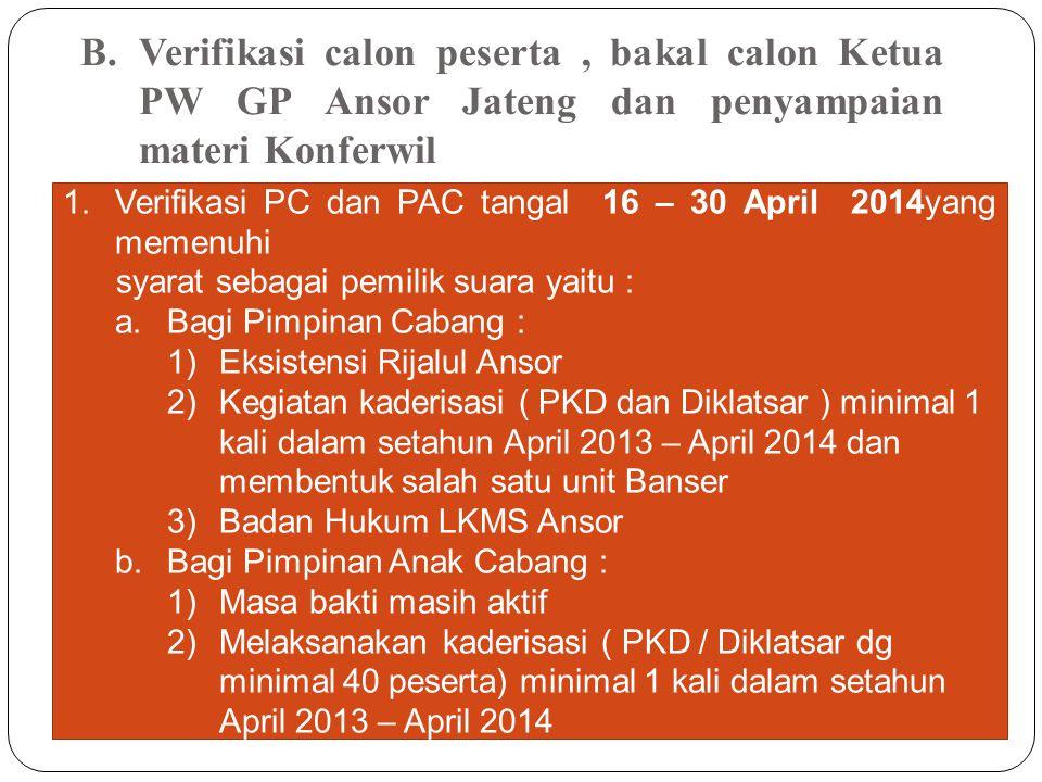 B.Verifikasi calon peserta, bakal calon Ketua PW GP Ansor Jateng dan penyampaian materi Konferwil 1.Verifikasi PC dan PAC tangal 16 – 30 April 2014yan