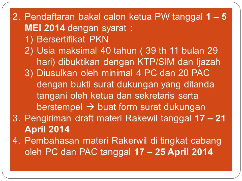 2.Pendaftaran bakal calon ketua PW tanggal 1 – 5 MEI 2014 dengan syarat : 1)Bersertifikat PKN 2)Usia maksimal 40 tahun ( 39 th 11 bulan 29 hari) dibuk