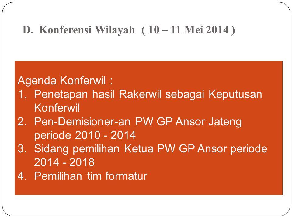 Agenda Konferwil : 1.Penetapan hasil Rakerwil sebagai Keputusan Konferwil 2.Pen-Demisioner-an PW GP Ansor Jateng periode 2010 - 2014 3.Sidang pemiliha
