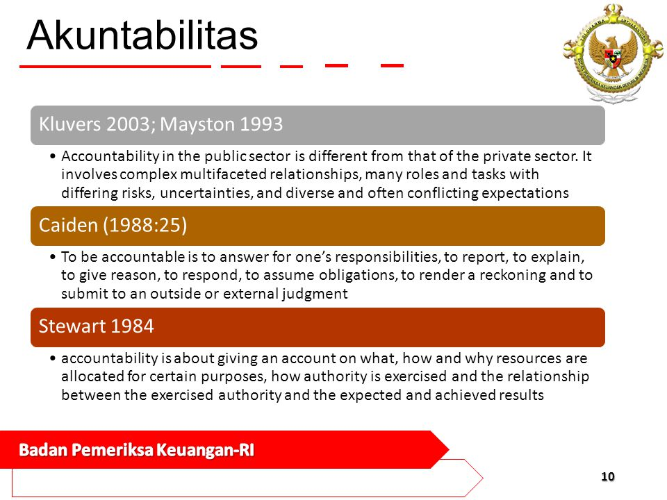 Akuntabilitas Kluvers 2003; Mayston 1993 Accountability in the public sector is different from that of the private sector. It involves complex multifa