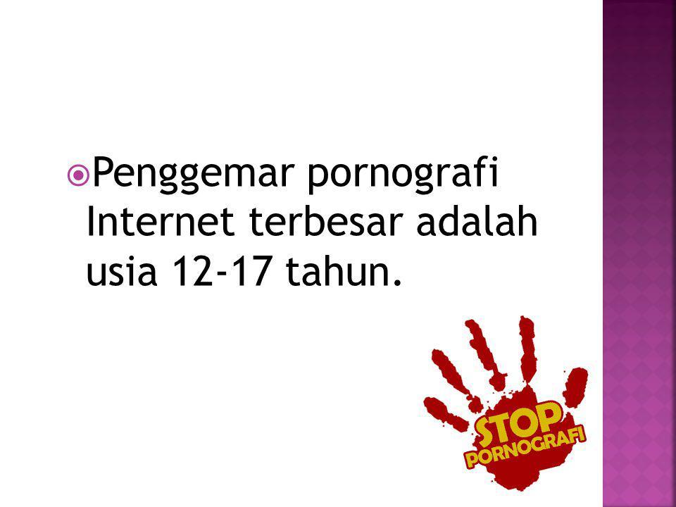  Penggemar pornografi Internet terbesar adalah usia 12-17 tahun.
