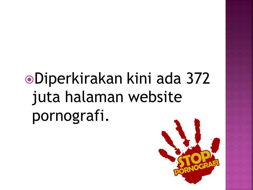  Diperkirakan kini ada 372 juta halaman website pornografi.