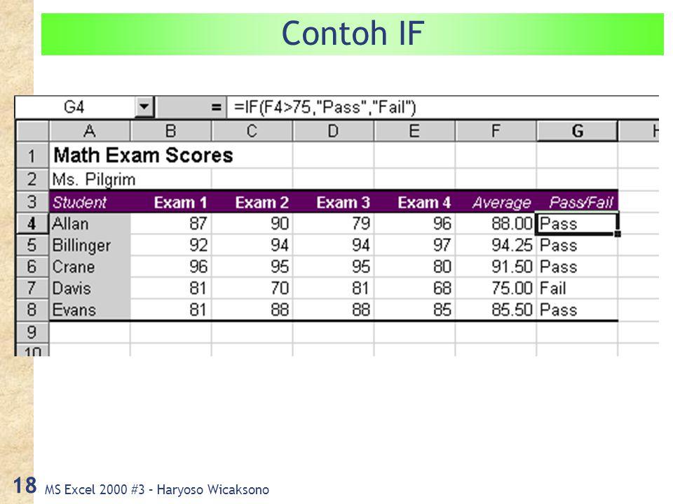 MS Excel 2000 #3 – Haryoso Wicaksono 18 Contoh IF