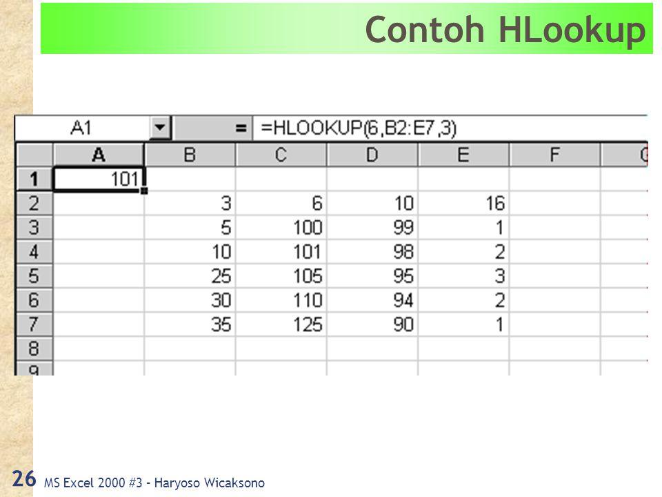 MS Excel 2000 #3 – Haryoso Wicaksono 26 Contoh HLookup
