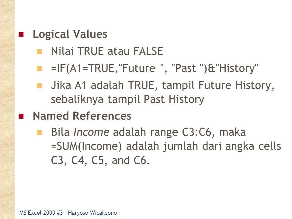 MS Excel 2000 #3 – Haryoso Wicaksono Logical Values Nilai TRUE atau FALSE =IF(A1=TRUE,