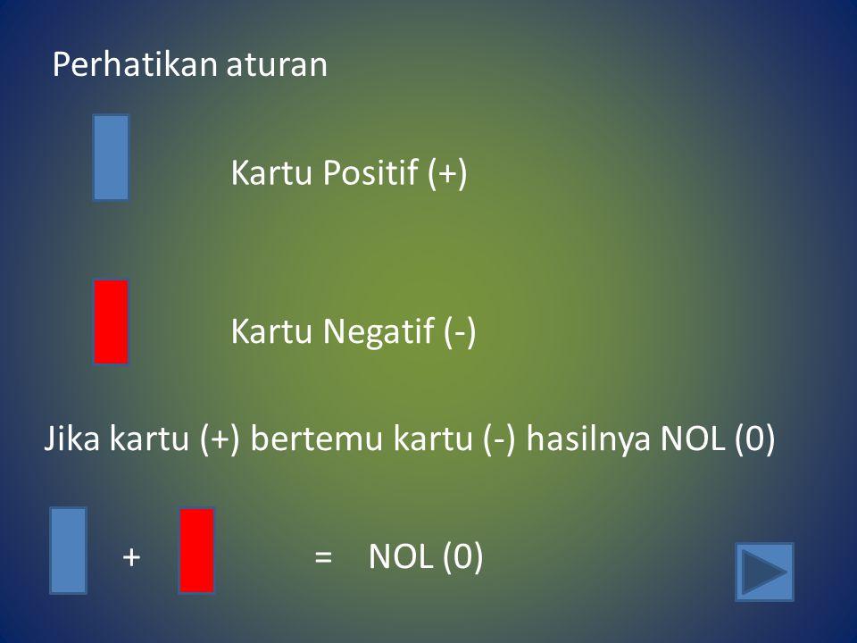 Perhatikan aturan Kartu Positif (+) Kartu Negatif (-) Jika kartu (+) bertemu kartu (-) hasilnya NOL (0) + = NOL (0)
