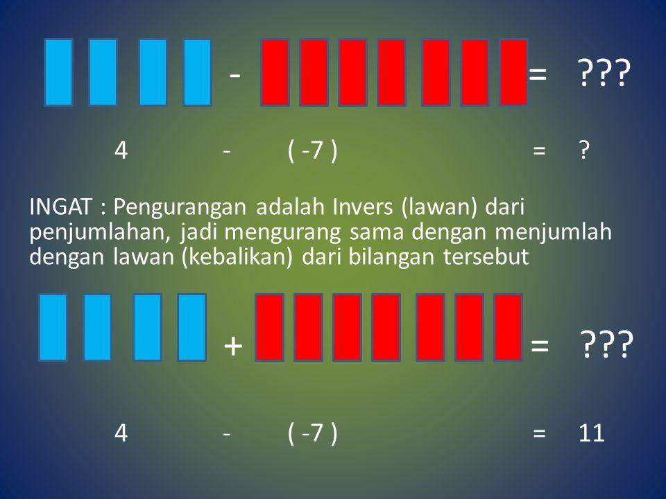 - = ??? - 3 - ( -7 ) = ? + = ??? -3 - ( -7 ) = 4