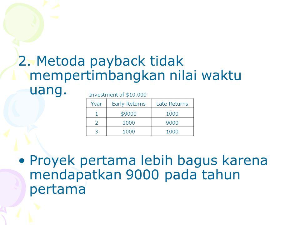 2. Metoda payback tidak mempertimbangkan nilai waktu uang. Proyek pertama lebih bagus karena mendapatkan 9000 pada tahun pertama Investment of $10.000