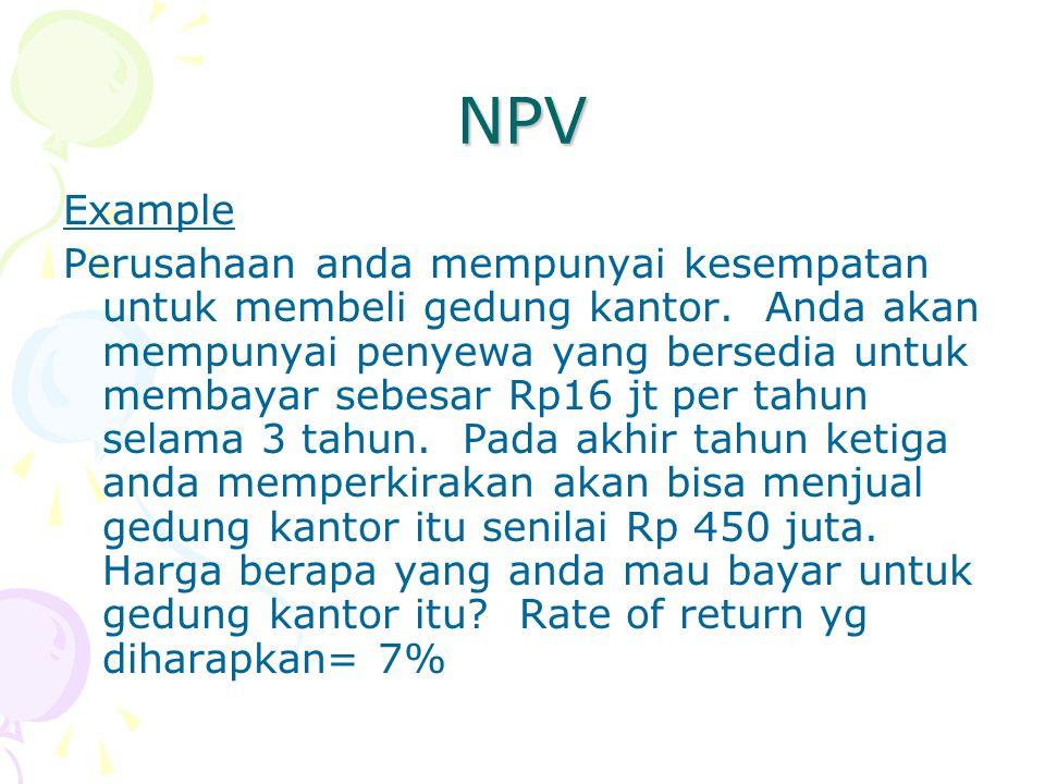 NPV Example Perusahaan anda mempunyai kesempatan untuk membeli gedung kantor. Anda akan mempunyai penyewa yang bersedia untuk membayar sebesar Rp16 jt