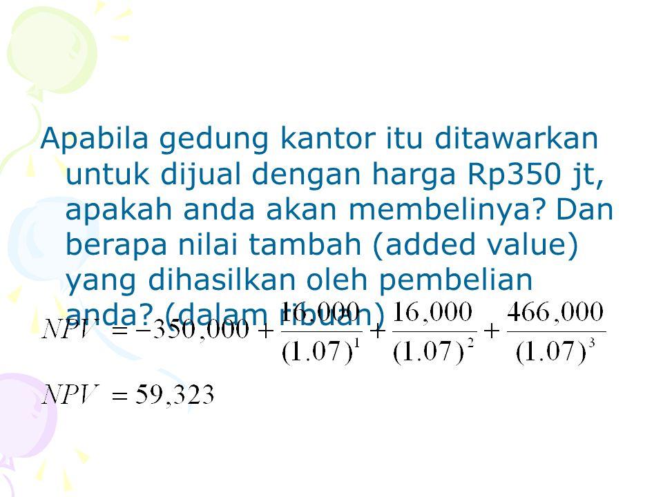 Apabila gedung kantor itu ditawarkan untuk dijual dengan harga Rp350 jt, apakah anda akan membelinya? Dan berapa nilai tambah (added value) yang dihas