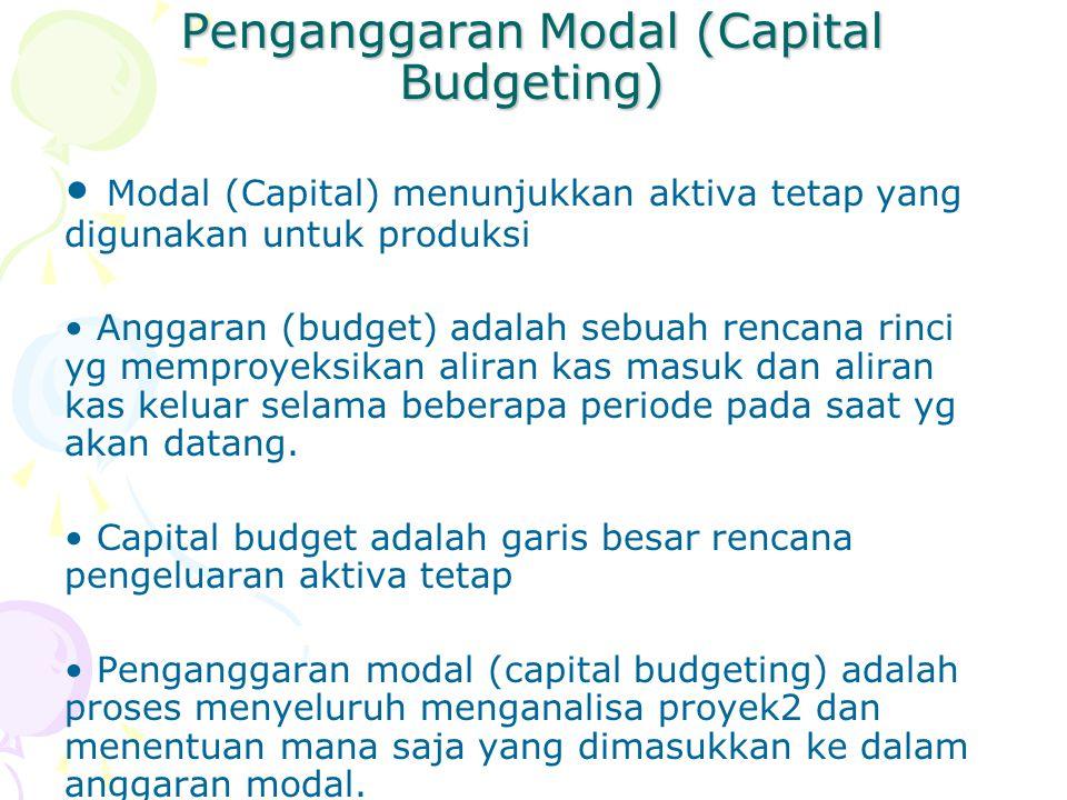 Penganggaran Modal (Capital Budgeting) Modal (Capital) menunjukkan aktiva tetap yang digunakan untuk produksi Anggaran (budget) adalah sebuah rencana