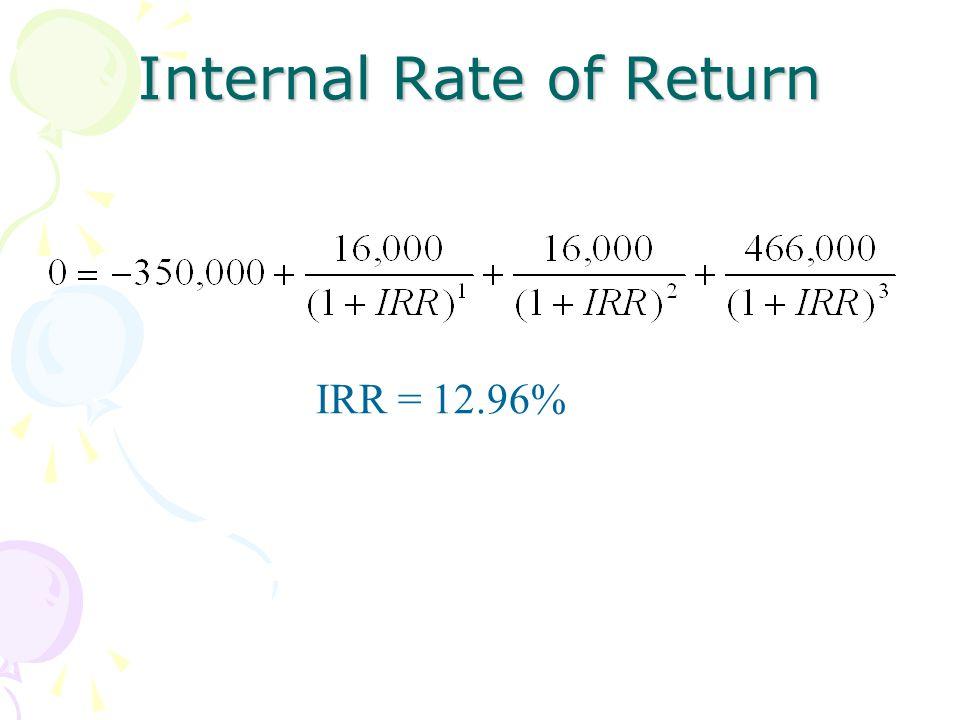 Internal Rate of Return IRR = 12.96%