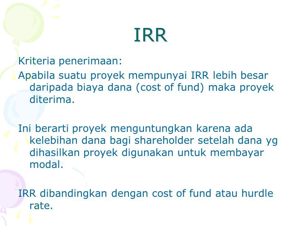 IRR Kriteria penerimaan: Apabila suatu proyek mempunyai IRR lebih besar daripada biaya dana (cost of fund) maka proyek diterima.