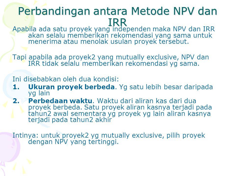 Perbandingan antara Metode NPV dan IRR Apabila ada satu proyek yang independen maka NPV dan IRR akan selalu memberikan rekomendasi yang sama untuk menerima atau menolak usulan proyek tersebut.