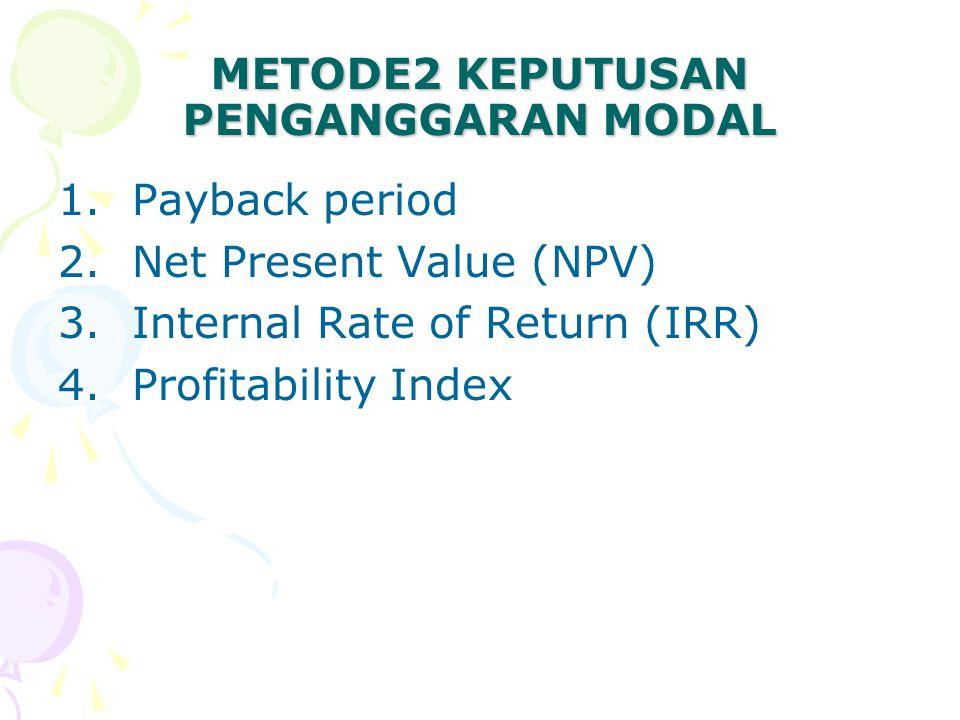 PAYBACK PERIOD (Periode Pengembalian) Periode waktu yang menunjukkan berapa lama dana yang diinvestasikan akan bisa kembali Contoh: Cash inflows of $10.000 investment YearProject AProject B 15.0001.500 25.0002.000 3 2.500 4-5.000 5-