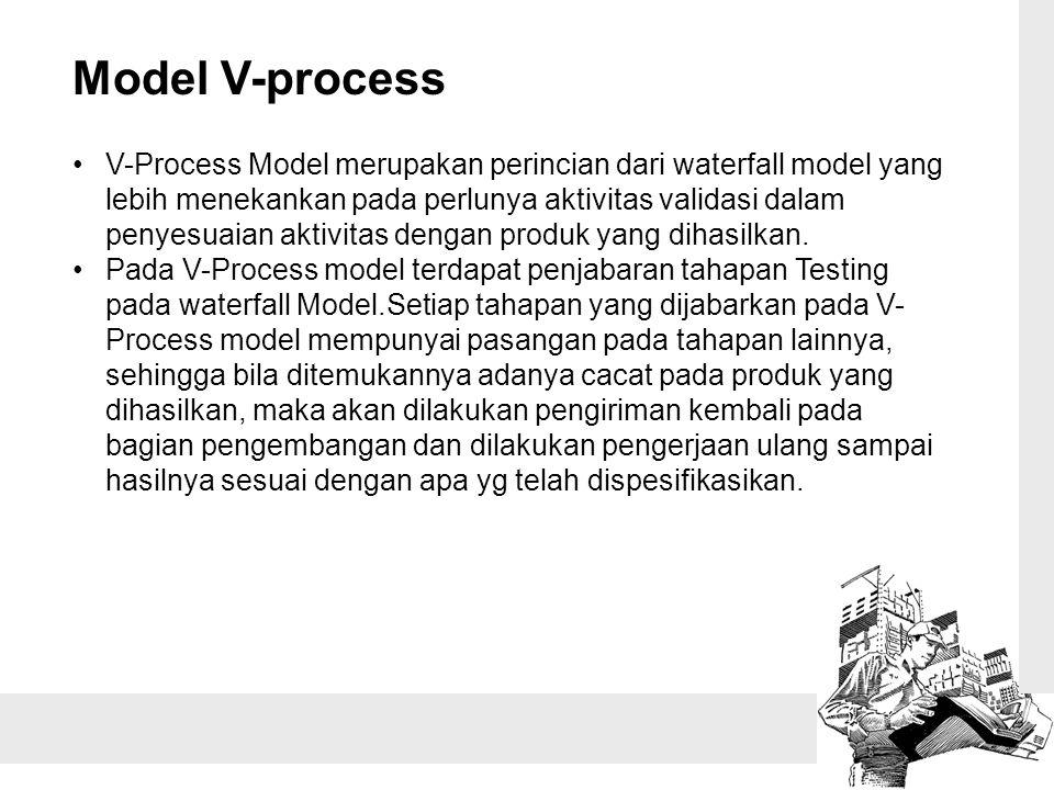 Model V-process V-Process Model merupakan perincian dari waterfall model yang lebih menekankan pada perlunya aktivitas validasi dalam penyesuaian akti