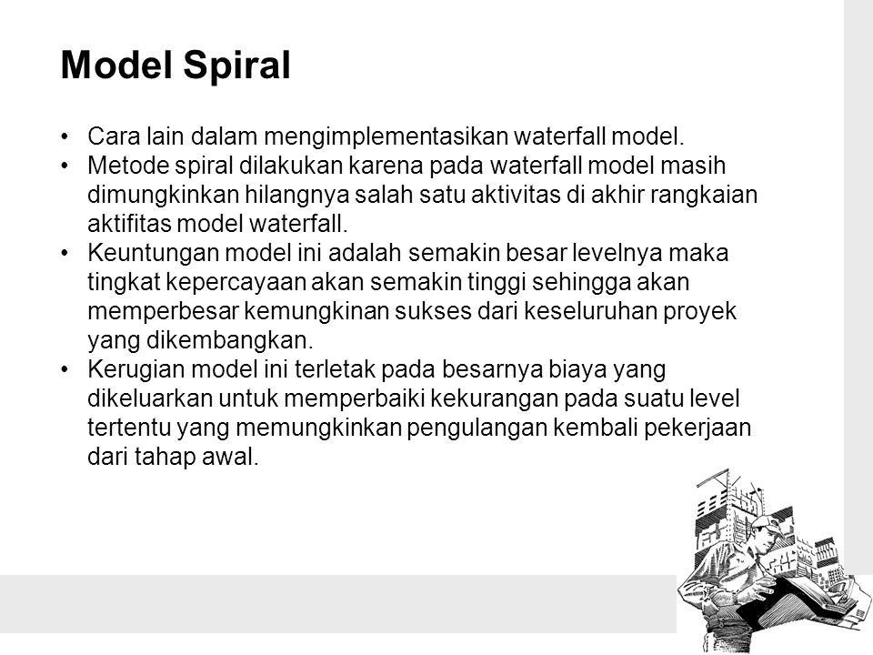 Model Spiral Cara lain dalam mengimplementasikan waterfall model. Metode spiral dilakukan karena pada waterfall model masih dimungkinkan hilangnya sal