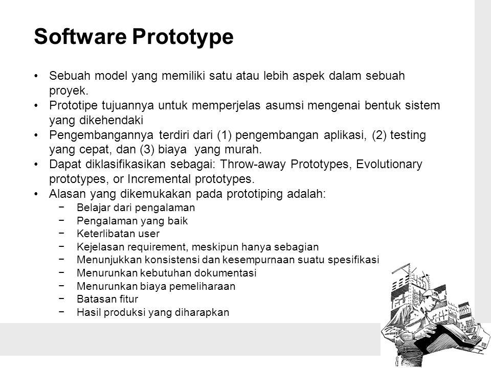 Software Prototype Sebuah model yang memiliki satu atau lebih aspek dalam sebuah proyek. Prototipe tujuannya untuk memperjelas asumsi mengenai bentuk