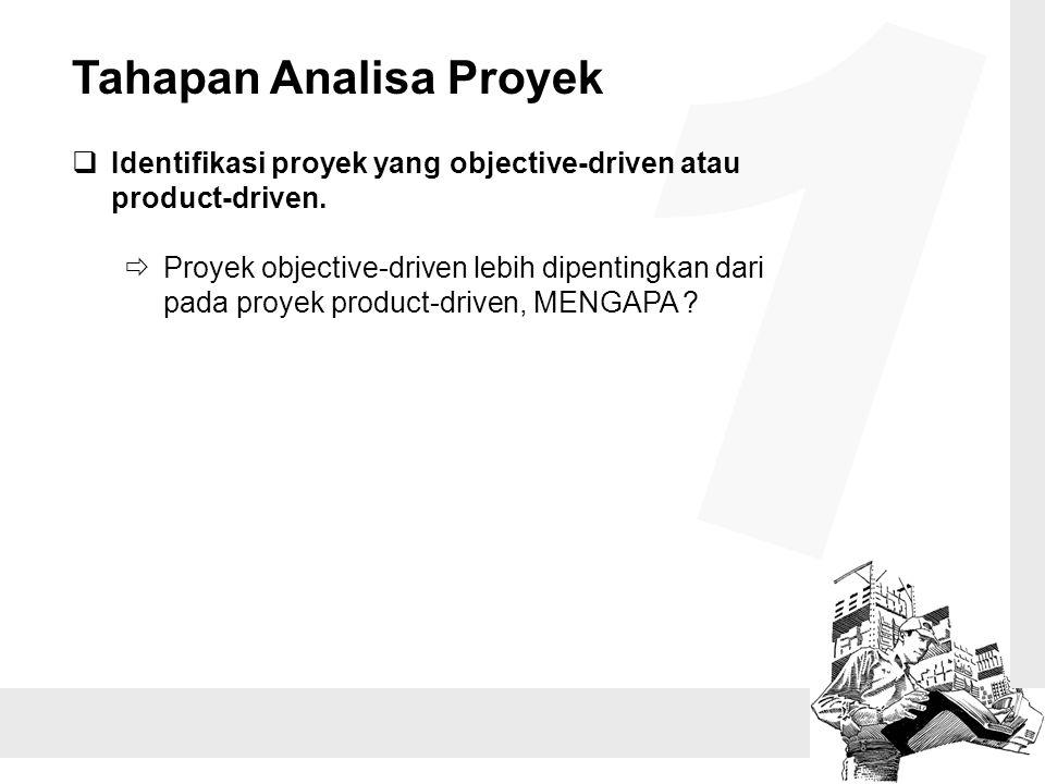 Tahapan Analisa Proyek  Identifikasi proyek yang objective-driven atau product-driven.  Proyek objective-driven lebih dipentingkan dari pada proyek